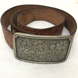 Fossil Vintage Leather Belt Silver Buckle
